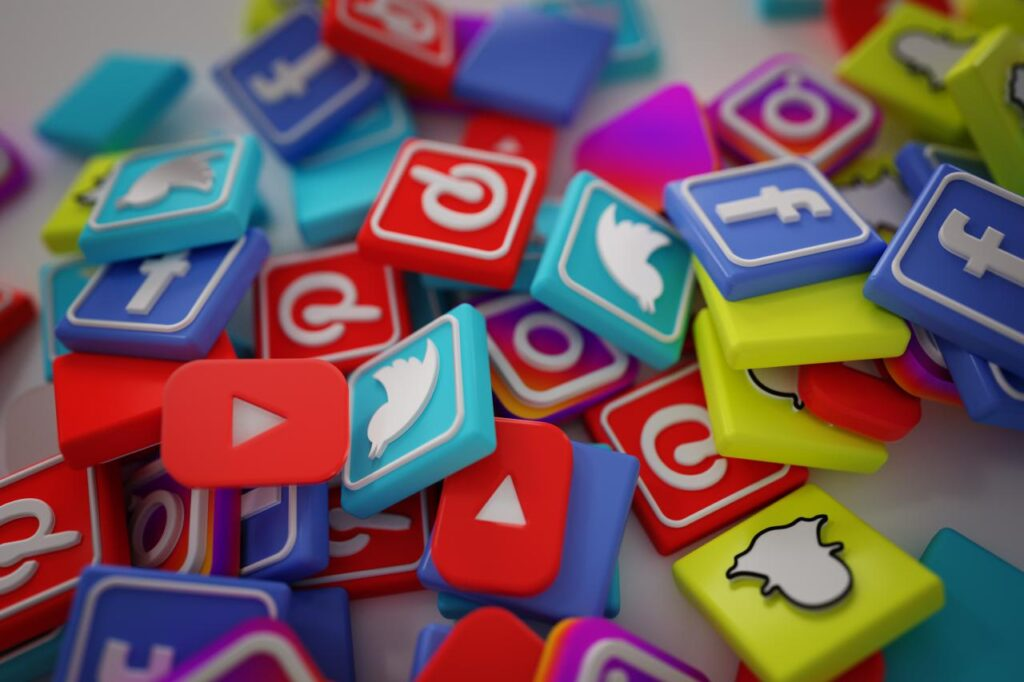 A colourful collection of the various social media icons, including Facebook and Twitter