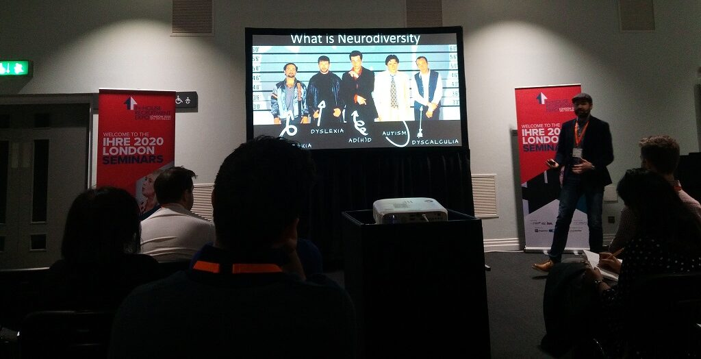 Theo Smith from NICE delivers his talk on neurodiversity at the In House Recruitment Expo 2020