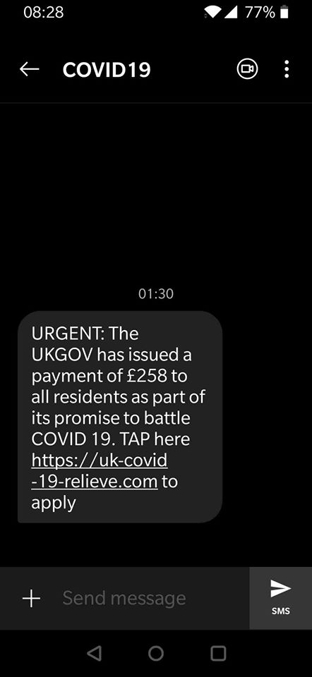 The UK Gov scam text about Covid-19 financial support