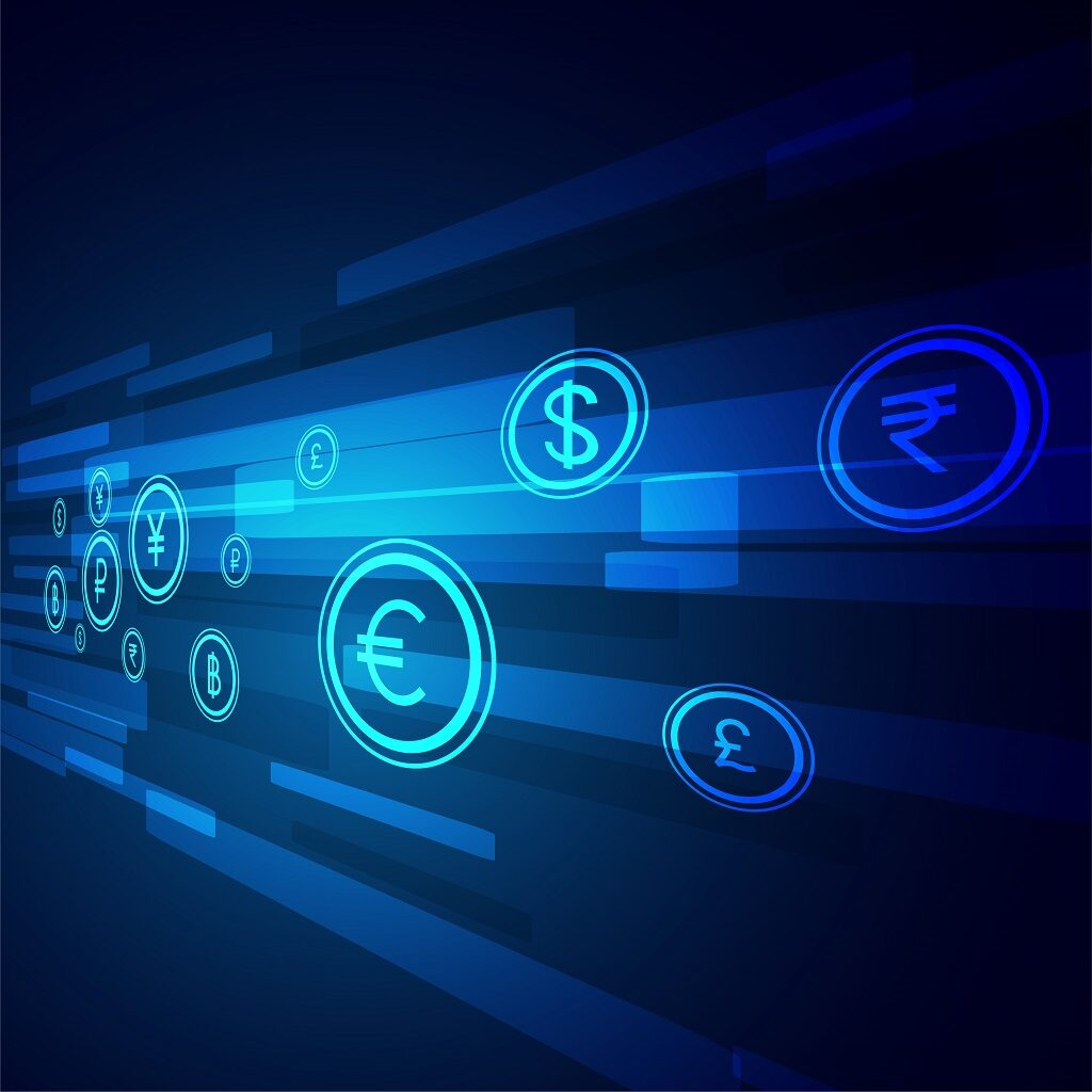 digital money transfer technology background