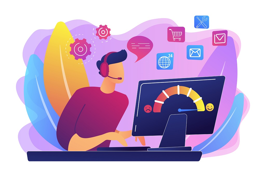 A colourful illustration of a customer service agent taking a call at their computer.