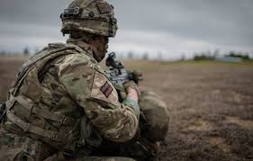 A British army soldier on a training exercise.