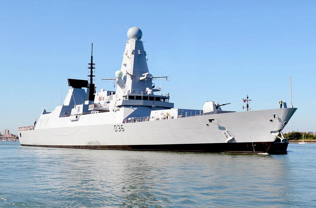 The Royal Navy Type 45 Destroyer, HMS Defender at sea.