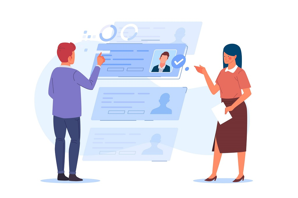 Illustration of two recruiters looking over a vareity of candidate profiles.