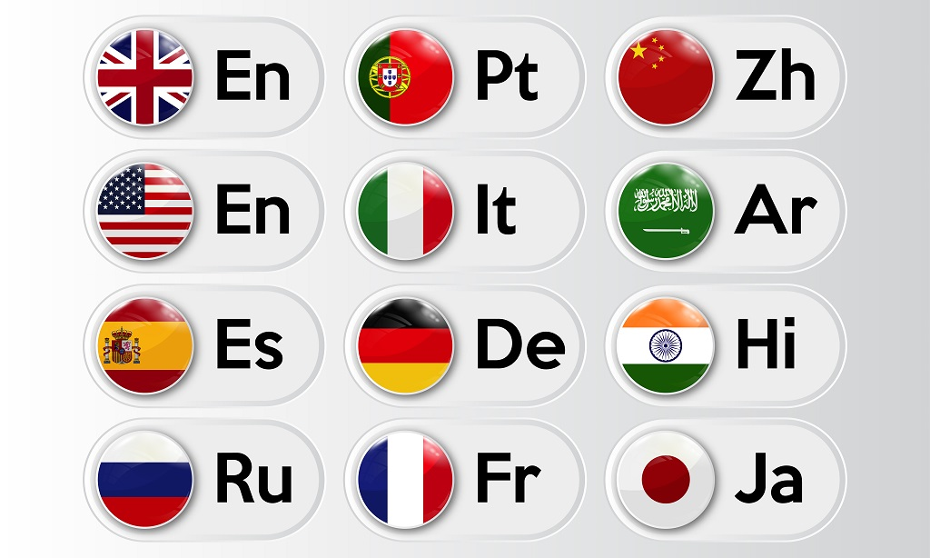 A collection of European languages and their associated flags as a button icon.